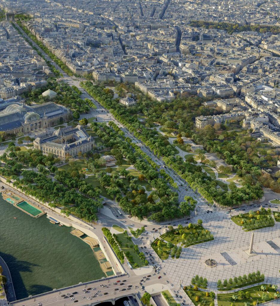 paris set transform the Champs Elysees into extraordinary garden